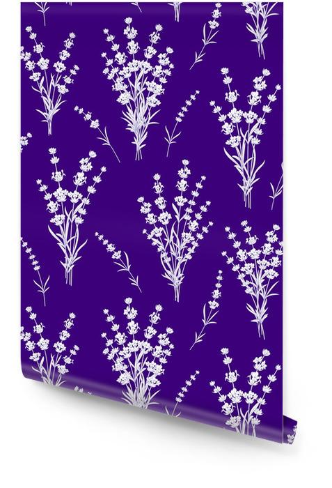 Modèle sans couture de fleurs de lavande sur un fond bleu. modèle aquarelle avec de la lavande pour l'échantillon de tissu. illustration vectorielle Rouleau de papier peint - Plantes et fleurs