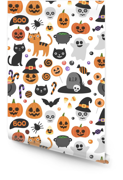 Vektor søt sømløs halloween mønster. smilende og morsomme tegneseriefigurer: gresskar, spøkelse, katt, flaggermus, candy jar. Innpakningspapir, tapet, gjentakende bakgrunn Rulletapet - Kultur og Religion