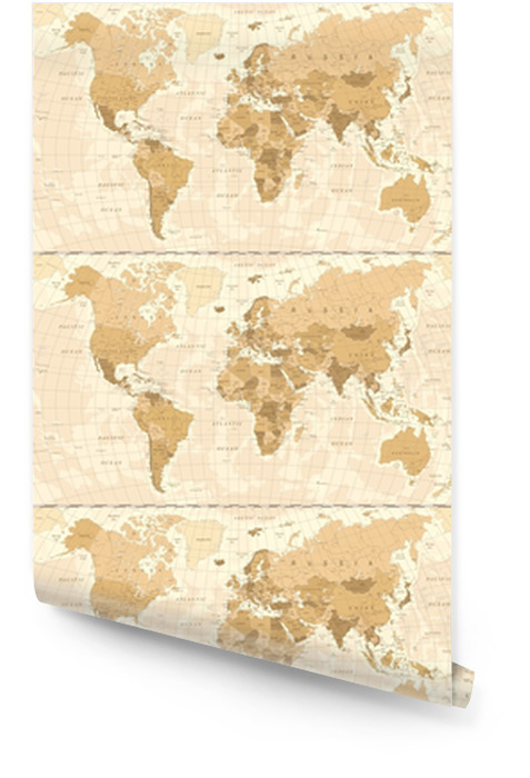 World Map Vintage Vector Wallpaper Roll Pixers We Live To Change
