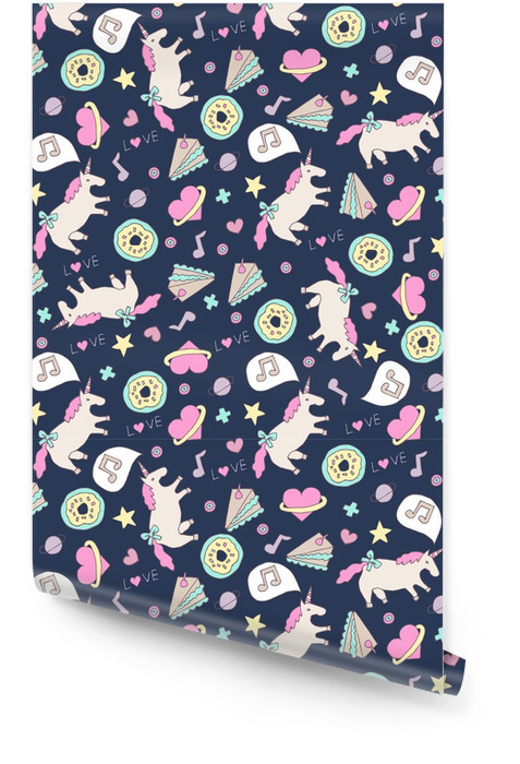 cute seamless unicorn pattern Wallpaper roll - Graphic Resources