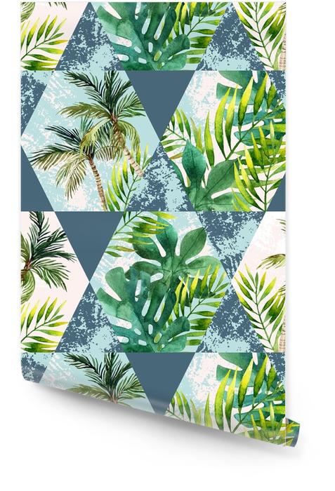 Akwarela tropikalny liści i palmy w geometryczne kształty wzór Tapeta w rolce - Zasoby graficzne
