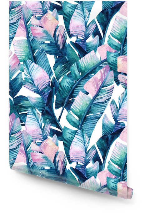Watercolor banana leaf seamless pattern. Wallpaper roll - Plants and Flowers