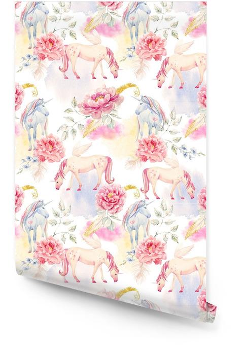 Watercolor unicorn and pegasus pattern Wallpaper roll - Animals