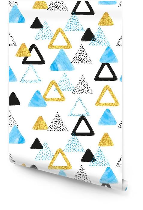 Naadloos patroon met blauwe, zwarte en gouden driehoeken. vector abstracte achtergrond met geometrische vormen. Behangrol - Grafische Bronnen