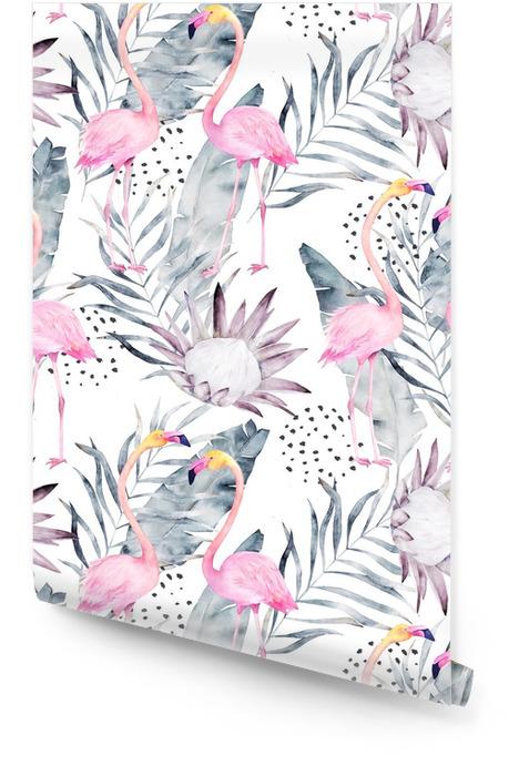 Abstract tropisch patroon met flamingo, protea, bladeren. aquarel naadloze print. minimalisme illustratie Behangrol - Grafische Bronnen