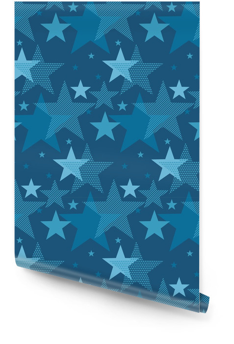 Abstract geometry night star motif. marine blue color abstract concept design. vector seamless pattern for fabric, wrapping paper, print and web surface design Wallpaper roll - Graphic Resources