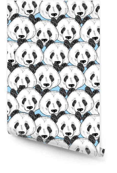 Sin patrón con caras de panda. Rollo de papel pintado - Animales
