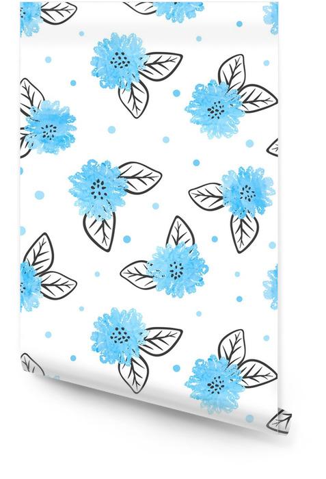 Modèle sans couture avec des fleurs bleues aquarelles et des feuilles noires. Rouleau de papier peint - Plantes et fleurs