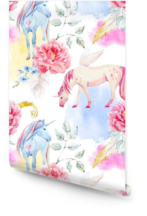 Acuarela vector unicornio y pegaso patrón Rollo de papel pintado - Animales