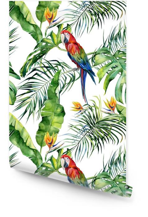 Sömlös vattenfärg illustration av tropiska löv, tät djungel. scarlet macaw papegoja. strelitzia reginae blomma. handmålad. mönster med tropisk sommartid. kokospalmblad. Rulltapet - Grafiska resurser