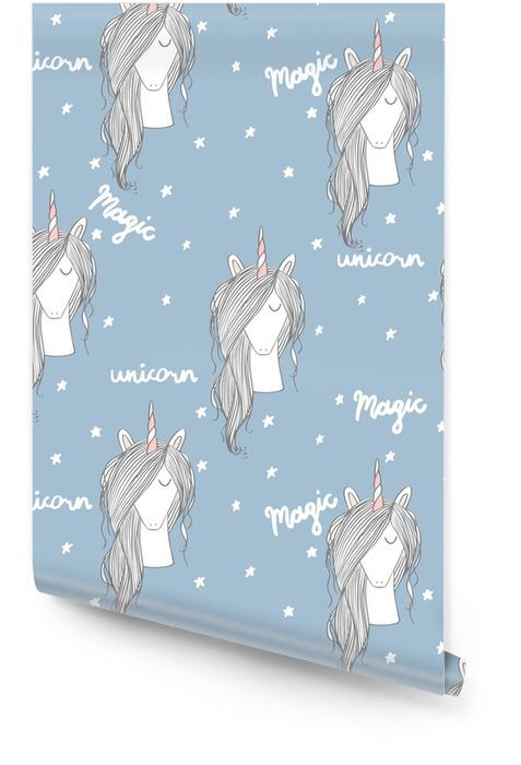 Licorne magique avec des étoiles. modèle sans couture de vecteur Rouleau de papier peint - Animaux