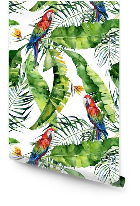 Tropik yapraklar, yoğun orman kesintisiz suluboya illüstrasyonu. kırmızı macaw papağanı. strelitzia reginae çiçeği. el ile çizilmiş. tropik yaz dönemi motifli desen. Hindistan cevizi palmiyesi yaprakları. Rulo Duvar Kağıdı - Grafik kaynakları