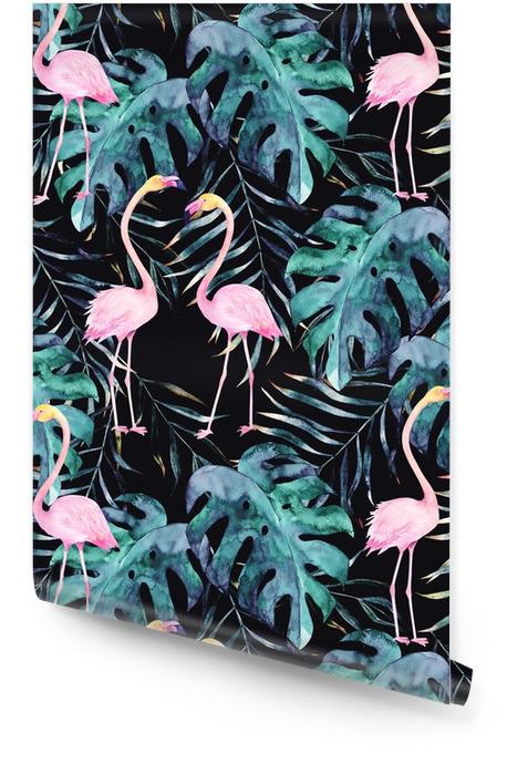 Suluboya dikişsiz desen. flamingo ile tropikal baskılar. elle çizilmiş illüstrasyon Rulo Duvar Kağıdı - Grafik kaynakları
