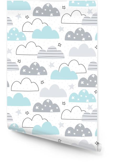 Naadloze wolken patroon vectorillustratie Behangrol - Landschappen