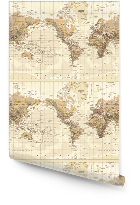 Vintage Physical World Map America Centered Colors Of Brown