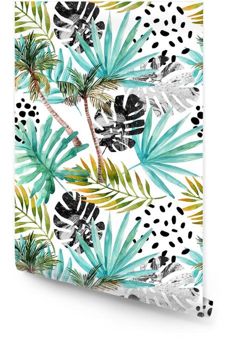 Elle çizilmiş soyut tropik yaz arka plan Rulo Duvar Kağıdı - Çiçek ve bitkiler