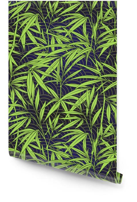 Naadloze patroon met bamboe bladeren en takken in Japanse stal Behangrol - Bloemen en Planten