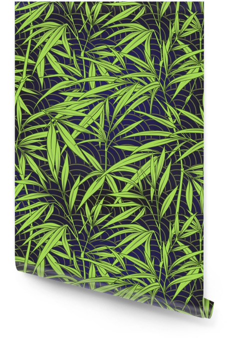 Seamless pattern with bamboo leaves and branches in Japanese sty Wallpaper roll - Plants and Flowers