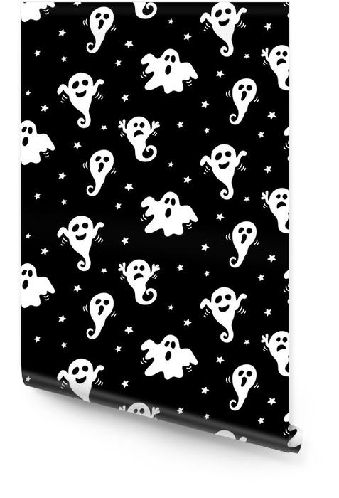 Halloween naadloze patroon met hand getrokken witte spoken doodles op zwarte achtergrond Behangrol - Religie en Cultuur