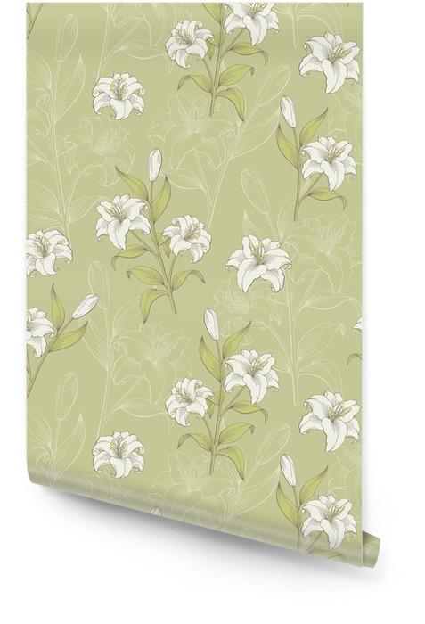 Lily flower graphic color seamless pattern boceto vector de ilustración Rollo de papel pintado - Recursos gráficos