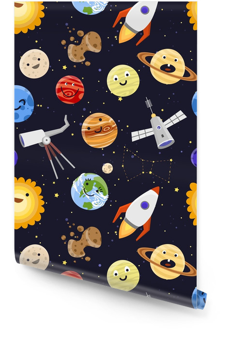 Space planets solar system astrology seamless pattern background vector illustration Wallpaper roll - Landscapes
