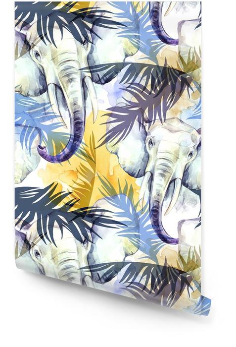 Aquarel exotische naadloze patroon. olifanten met kleurrijke tropische bladeren. Afrikaanse dieren achtergrond. dieren in het wild kunst illustratie. kan worden afgedrukt op t-shirts, tassen, posters, uitnodigingen, kaart. Behangrol - Dieren