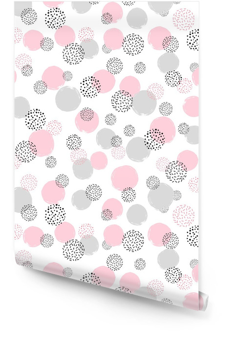 Nahtloses punktiertes Muster mit den rosa und grauen Kreisen. Vektor abstrakten Hintergrund mit runden Formen Tapetenrolle - Grafische Elemente