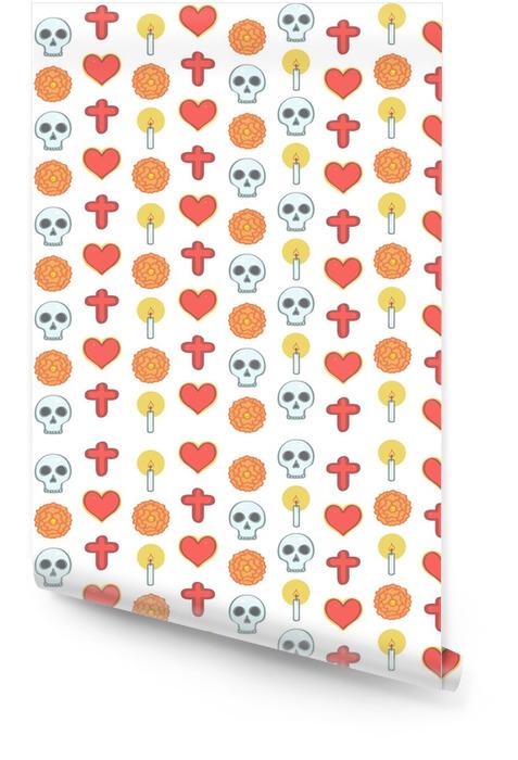 Kolorowy wzór w meksykańskim dniu martwego stylu z religijnych ozdób i kwiatów, ilustracji wektorowych na białym tle Tapeta w rolce - Religia i kultura