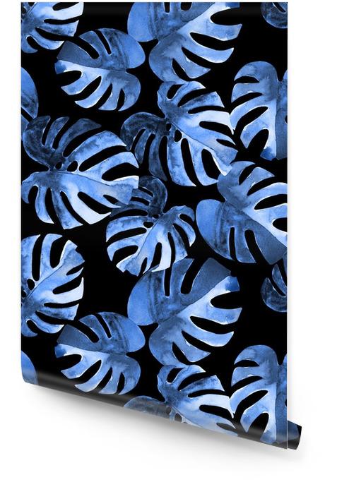 Modello floreale senza cuciture con foglie di monstera esotico acquerello stilizzato. fogliame di giungla di stile di tonalità blu su sfondo nero. design tessile. Rotolo di carta da parati - Risorse Grafiche