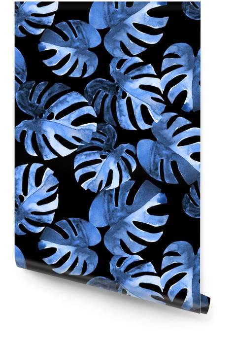 Seamless floral pattern with stylized watercolor exotic monstera leaves. Blue hues style jungle foliage on black background. Textile design. Wallpaper roll - Graphic Resources