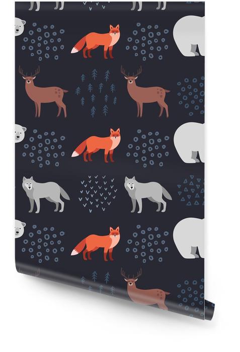 Bez szwu ręcznie rysowane wzór z zwierzęta leśne: lis, biały niedźwiedź, jeleń, wilk na ciemnym tle. styl skandynawski. ilustracji wektorowych Tapeta w rolce - Zasoby graficzne