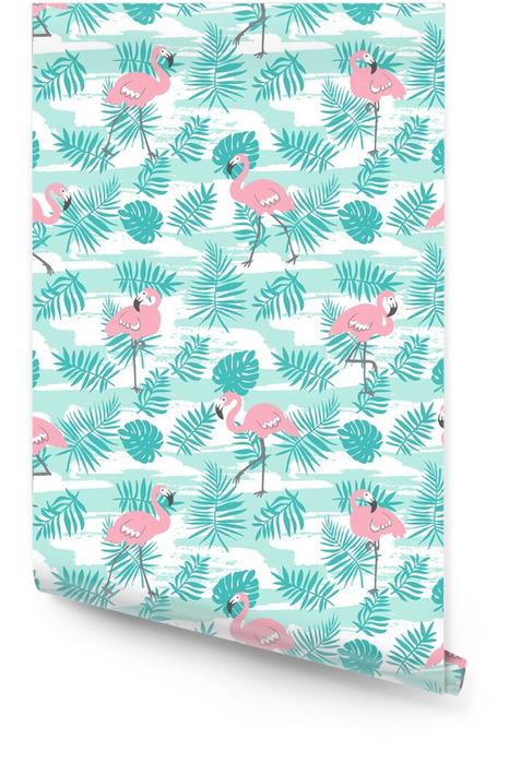 Modèle sans couture tropical avec des flamants roses et des feuilles de palmiers verts. conception de vecteur pour le tissu, papier ou papier peint. fond d'art hawaii exotique. Rouleau de papier peint - Ressources graphiques