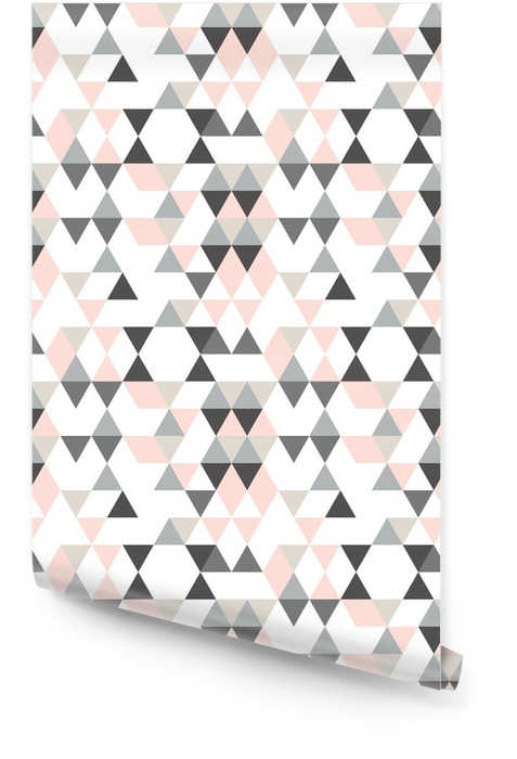 Geometrisch abstract patroon met driehoeken in gedempte retro kleuren. Behangrol - Grafische Bronnen