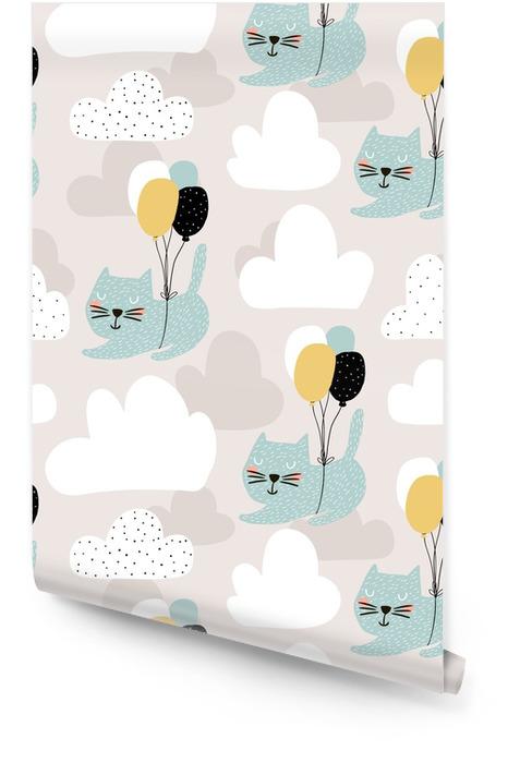 Saumaton lapsellinen malli söpöillä kissoilla, jotka lentävät ilmapallolla. luova taimitarhan taustaa. täydellinen lapsille suunnattu muotoilu, kangas, kääre, taustakuva, tekstiili, vaatetus Rullatapetti - Graafiset Resurssit