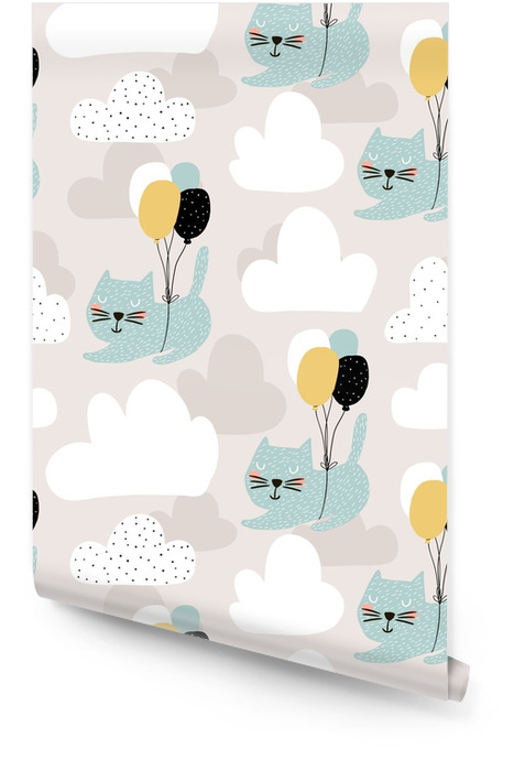 Seamless childish pattern with cute cats flying with balloon. Creative nursery background. Perfect for kids design, fabric, wrapping, wallpaper, textile, apparel Wallpaper Roll - Graphic Resources