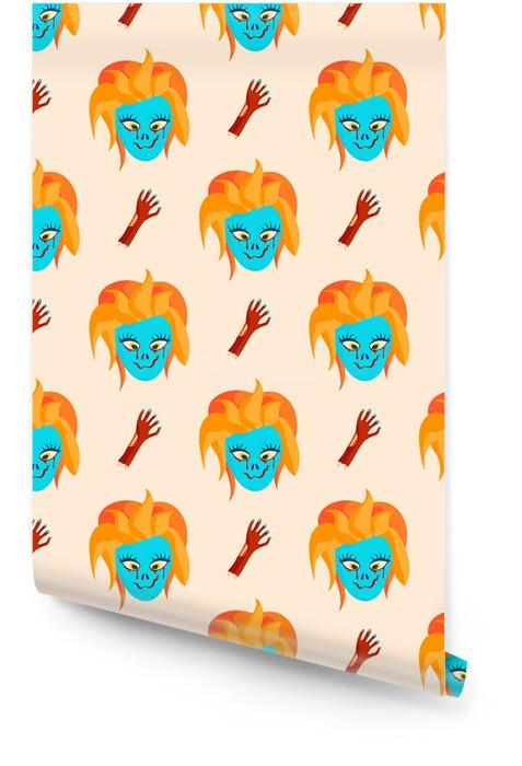 Personnage de dessin animé effrayant zombie coloré modèle sans couture personnage magique partie de corps dessin animé amusant illustration vectorielle monstre Rouleau de papier peint - Personnes