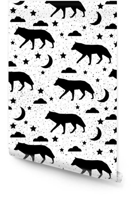 Abstrait doodle fond de patten sans soudure. motif noir et blanc monochrome Rouleau de papier peint - Ressources graphiques
