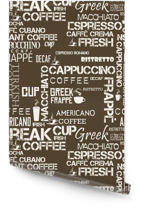 Tło bez szwu dachówka słowa i symbole kawy Tapeta w rolce - Zasoby graficzne