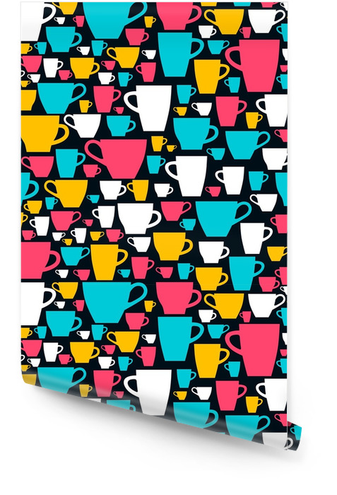 Wzór z kolorowych filiżanek. ilustracji wektorowych. Tapeta w rolce - Zasoby graficzne