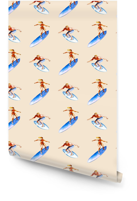Watercolor seamless pattern with surfers on pink background, bright hand-drawn summer background. Wallpaper roll - Sports