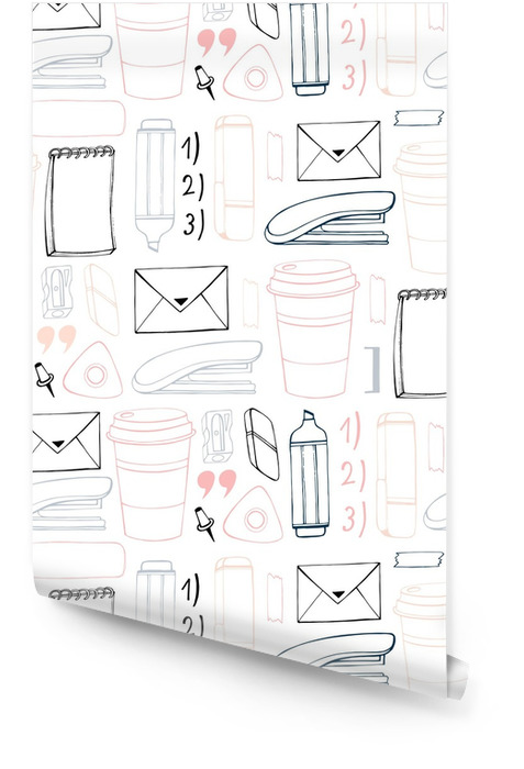 Vector seamless stationery pattern. Hand drawn background. Doodle stylish office pattern. Wallpaper roll - Graphic Resources