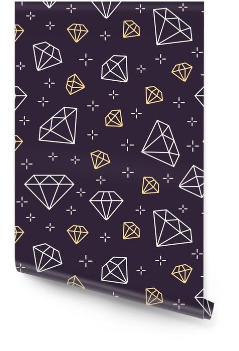 Nahtloses Muster der Schmucksachen, Diamantzeileillustration. Vektor-Icons von Brillanten. dunkler dunkler Hintergrund des Modespeichels. Tapetenrolle - Lifestyle