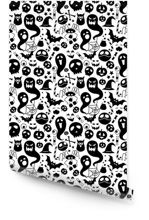 Ilustracja czarny biały bezszwowe tło abstrakcyjny wzór strony halloween Tapeta w rolce - Hobby i rozrywka