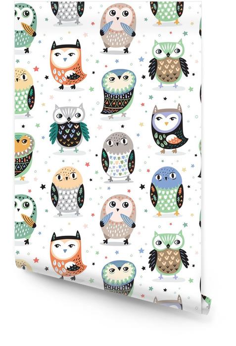 Vector sin patrón con búhos de dibujos animados. decoración de guardería Rollo de papel pintado - Animales