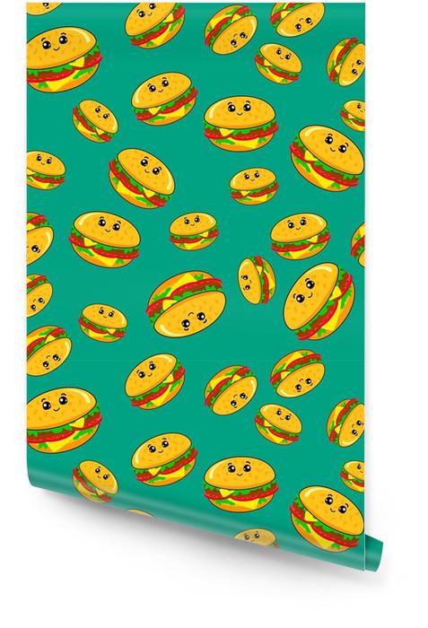 Resumen de patrones sin fisuras para niñas o niños. Fondo de vector creativo con una hamburguesa, hamburguesa ojos lindos. patrón divertido para textil y tela. estilo de moda. imagen brillante de colores para niños. Rollo de papel pintado - Recursos gráficos