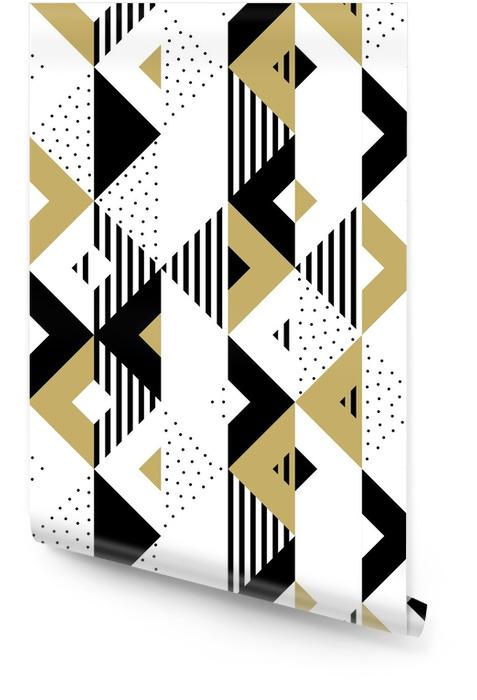 Trekant geometrisk abstrakt gylden sømløs mønster. vektor bakgrunn av svart, hvitt og gull trekantet mønster eller firkantet swatch ornament tekstur eller mosaikk design bakteppe fliser mal Rulletapet - Grafiske Ressurser