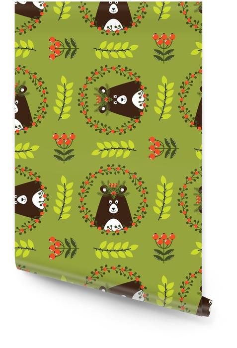 Kerstmis naadloze patroon met schattige beer Behangrol - Hobby's en Vrije tijd