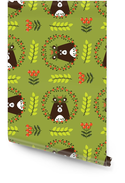 Christmas seamless pattern with cute bear Wallpaper roll - Hobbies and Leisure