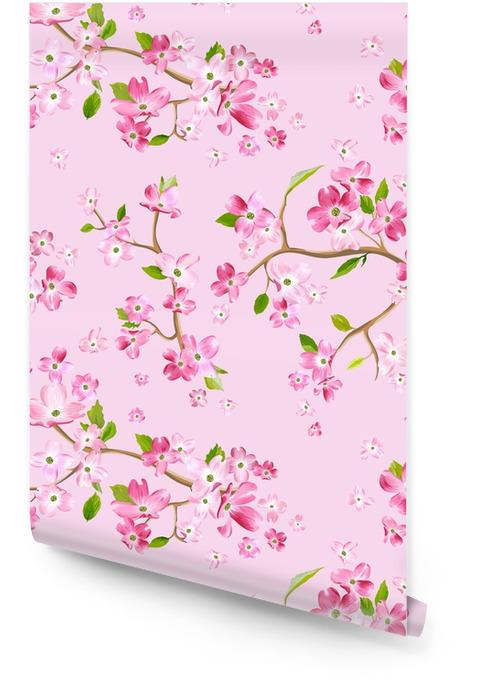Flor de primavera floreciente patrón de fondo. impresión de moda sin costuras en vector Rollo de papel pintado - Plantas y flores