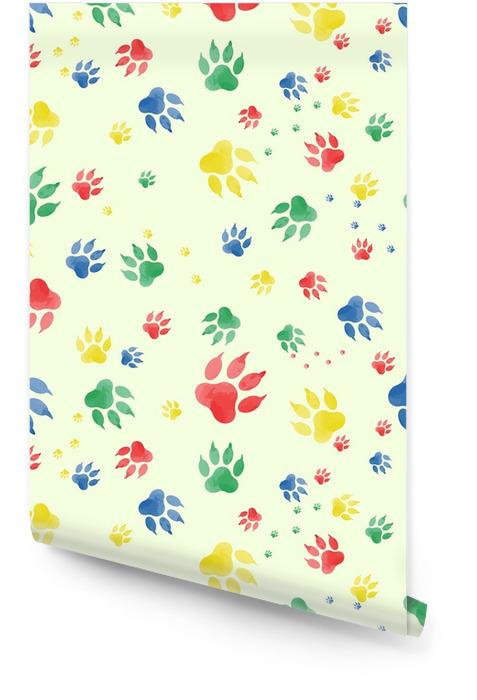 Modèle sans couture de marques de pattes de chien. traces colorées de pattes, faites à l'aquarelle, sur un fond clair. vektor Rouleau de papier peint - Ressources graphiques